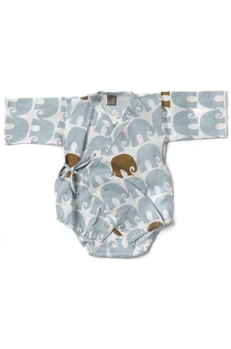 Baby Kimono Body Suit in blue elephants designs from Zebi