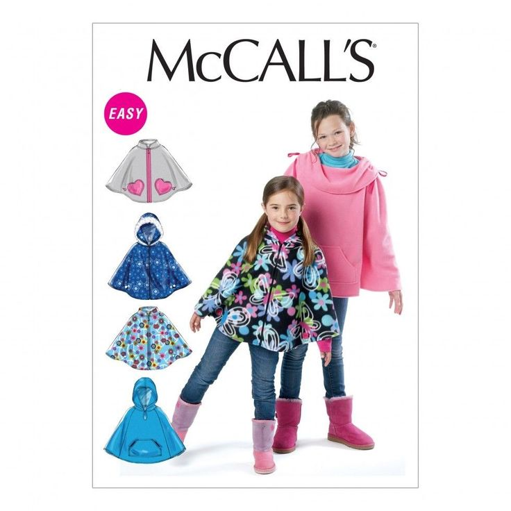 McCalls Childrens Easy Sewing Pattern 6431 Girls Ponchos (McCalls-6431-M) | eBay
