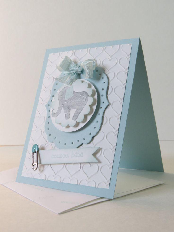 Carte de naissance, de nouveau né, shower de bébé «éléphant bleu» Stampin' Up! de la boutique Lamainalacarte sur Etsy