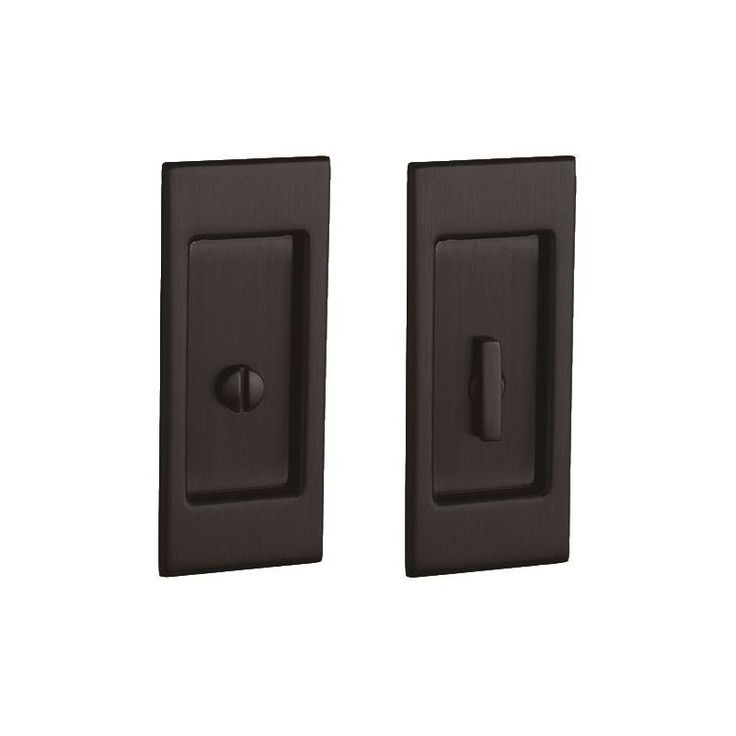 Baldwin PD006.PRIV Santa Monica Privacy Pocket Door Set with Door Pull from the Venetian Bronze Pocket Door Lock Privacy