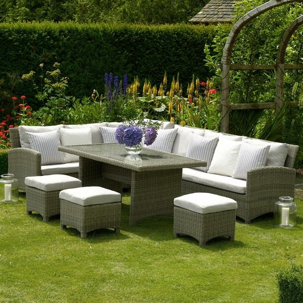 Bramblecrest Cotswold Casual Rattan Corner Dining Set With 3 Stools