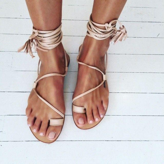 Splice X Splice Boutique - bella lace up leg sandals, natural leather