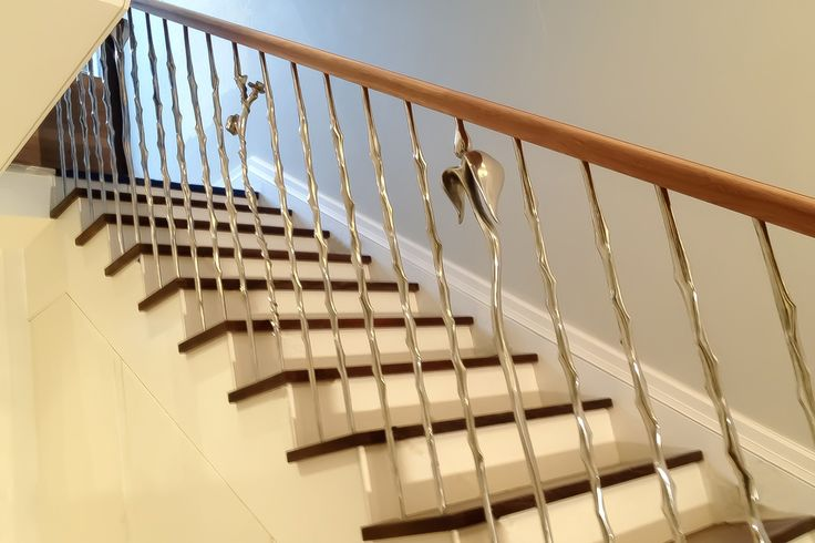 Sculptural balustrading for stairs, Zigzag Stairs, Nature range, 'Rose' 'Thorn' & 'Tulip'