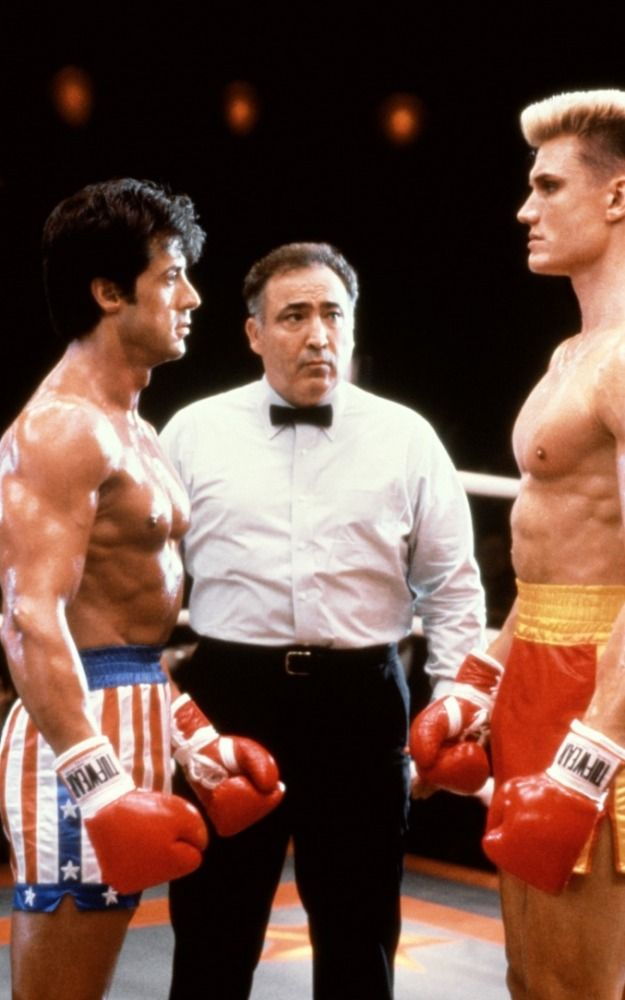 """Sylvester Stallone with Dolph Lundgren in """"Rocky IV"""" (1985)... #boxing"""