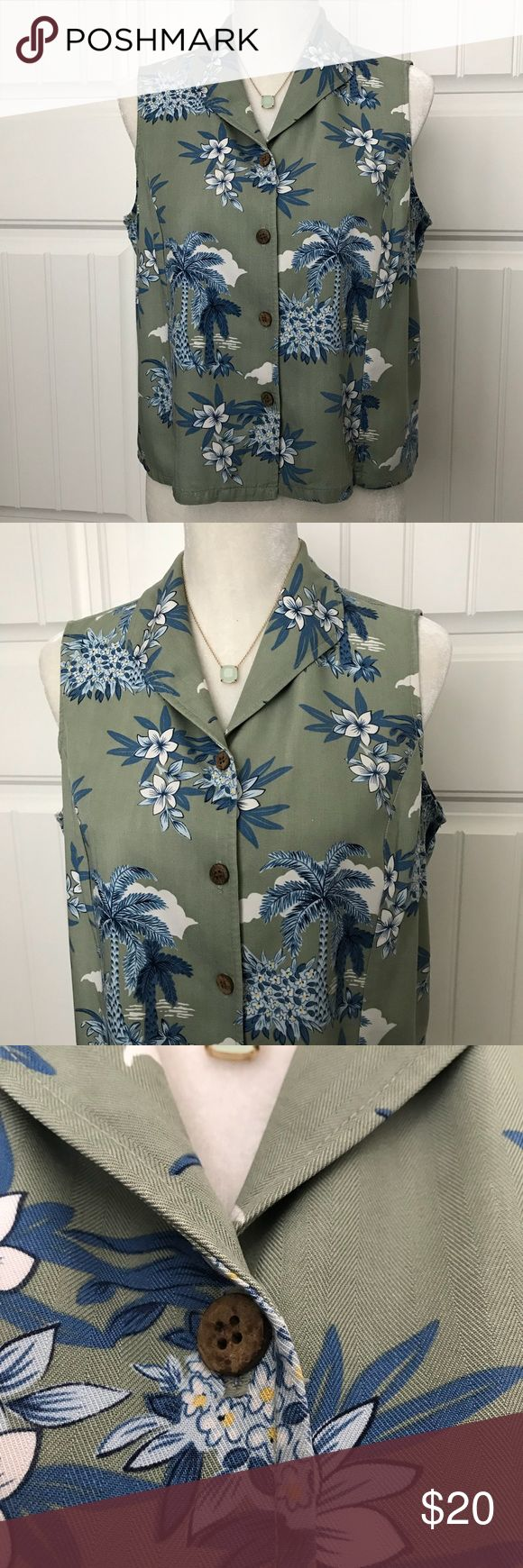 Adorable Hawaiian Shirt Size LP Adorable Hawaiian Shirt Size LP in excellent pre-loved condition. It says large, but if fits more like a petite large. Totally adorable with jean or white shorts or capris. Could be dressed up with slacks. Measurements by request. La Cabana Tops Blouses