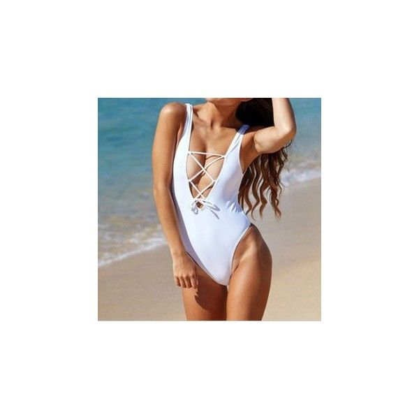 Lace-Up Swimsuit ($6.32) ❤ liked on Polyvore featuring swimwear, one-piece swimsuits, women, one piece swimsuit, lace up one piece swimsuit, swimsuit swimwear, white swim suit and swimming costume