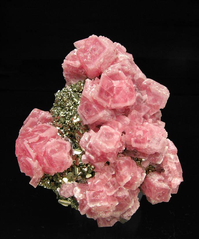 Rhodochrosite with Pyrite and Sphalerite