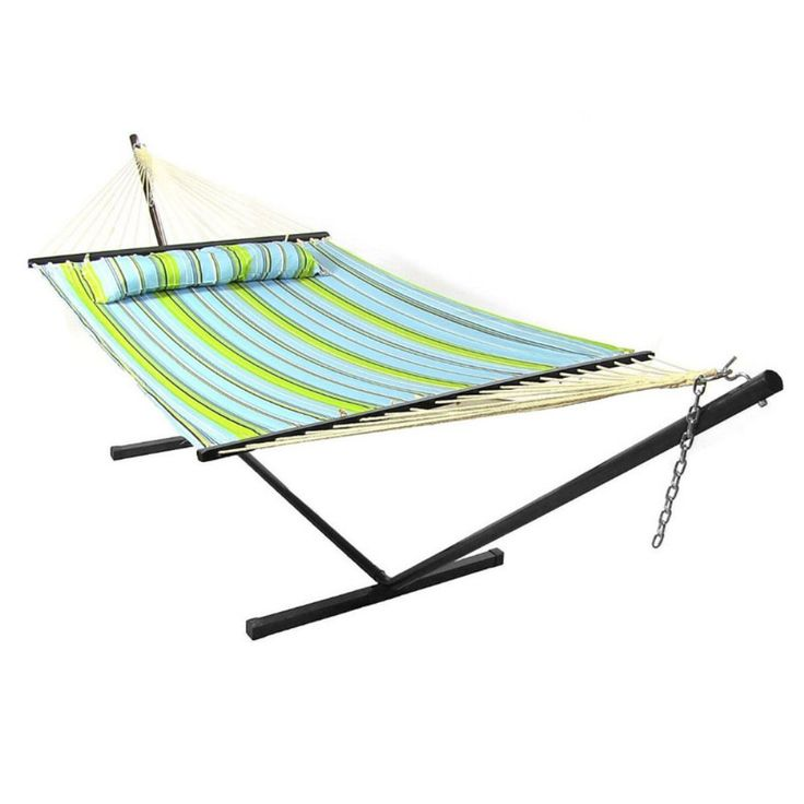 Sunnydaze Decor 11 ft. Sunnydaze Quilted Double Hammock with Metal Stand - Soak…