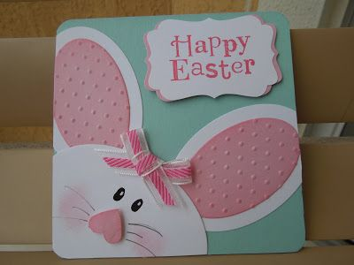 Pink and white oval and round punches make this cute little bunny peeking in to say Happy Easter on this handmade card!  I love the (upside down) heart nose!