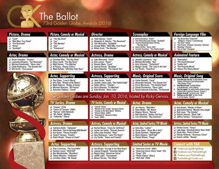 2016 Golden Globes printable ballot