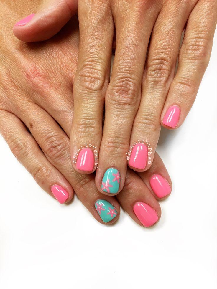 Star fish nails. Summer nails. Beach nails. #PreciousPhanNails