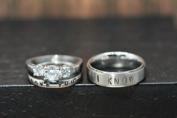 Star Wars inspired I love you / I know -Brilliant Stainless Stamped Ring Set--Custom made for you FREE inside engraving up to 15 Characters!