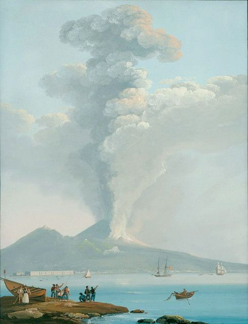 Éruption de 1822 Camillo de Vito, Gouache, XIXe siècle, école Napolitaine