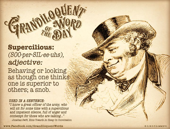Grandiloquent Word of the Day: Supercilious(SOO-per-SIL-ee-uhs)Adjective:-Behaving or looking as though one thinks one is superior to others. A snob.-Having or showing the proud and unpleasant attitude of people who think that they are better or more important than other people.-Behaving as if you are better than other people, and that their opinions, beliefs, or ideas are not important.-Coolly and patronizingly haughty.From Latin superciliosus, from supercilium eyebrow, haughtiness, from…