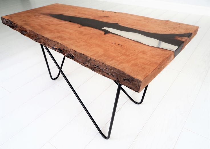 Coffee table with transparent resin, from pear wood