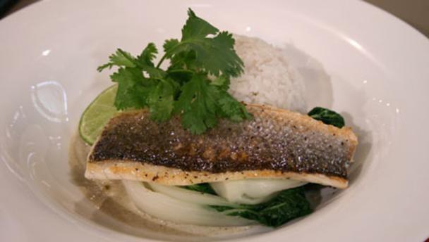 Mirin-glazed sea bass