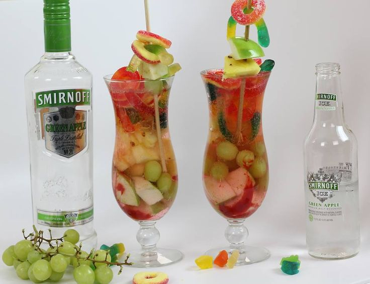 SMIRNOFF PREPARADAS =============== Smirnoff Green Apple Vodka Smirnoff Green Apple Ice Gummy Bears Gummy Worms Gummy Mellos Chamoy Pineapples Green Grapes Green Apples   This is really popular drink in a lot of Latino communities!