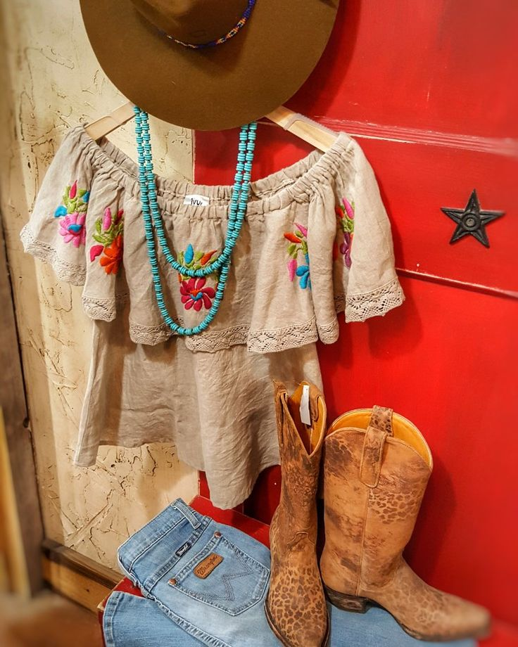 Outfit of the day! - Ivyjane top:$139.99 - Wrangler high waste flair:$59.99  - Imitation Turquoise necklace:$52 - Leopord Boots, by Old Gringo:$420 - Charlie 1 horse:$59.99  - It's just perfect!  Message for invoice!   #Teskeys #Boutique #fashion #instyle #trendsetter #gypsy #charlie1horse #Ivyjane #oldgringo #wrangler
