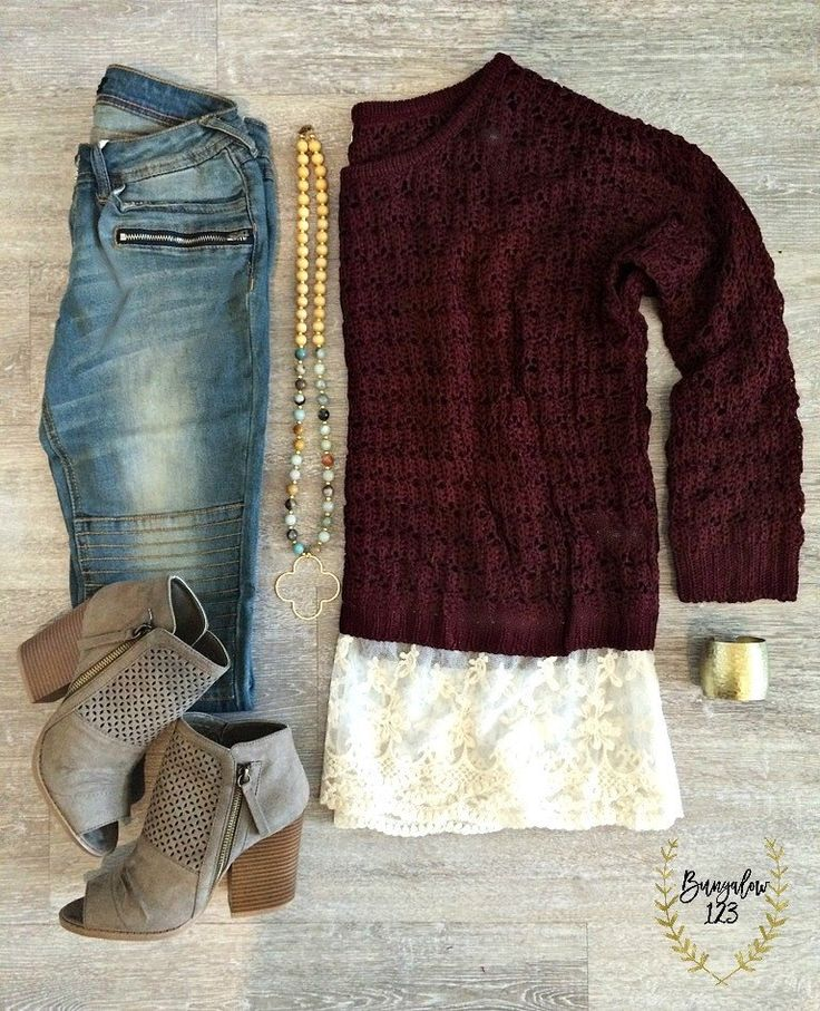You will love this comfortable Fall Sweater! Soft knit in Deep Wine with an Off-White Lace trim along bottom. Full-sleeve. Acrylic with Cotton trim. This sweater is slightly see-through, one of our B1