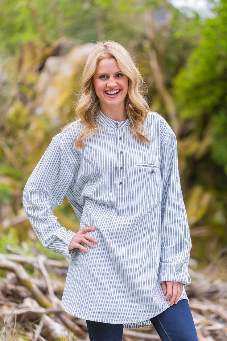 Grandfather Shirt Ladies Flannel Blue Ivory Stripe (LV2)  #shopirish #irishshirts #leevalleyireland #collarless #fabulousflannel #flannelnightgowns #granddadshirt #collarlessshirt #irishflannel #grandfathershirt