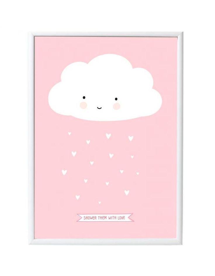 Prachtige poster met een lief regenwolkje op een pastel roze achtergrond met de tekst 'Shower them with love'. Ieder meisje, klein of groot, is hier hier toch wég van!  De poster is 50 x 70 cm en…