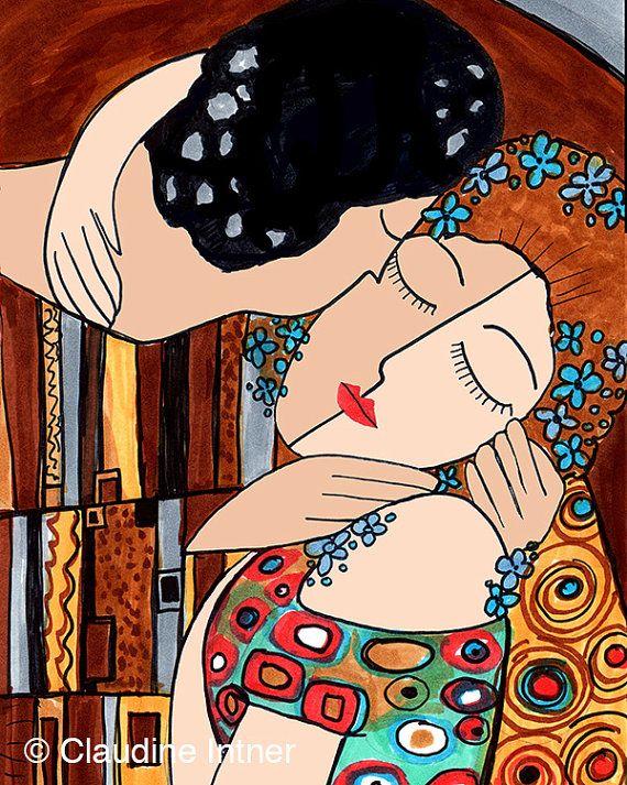 The Kiss Revisited Gustav Klimt Art Print giclee by claudine