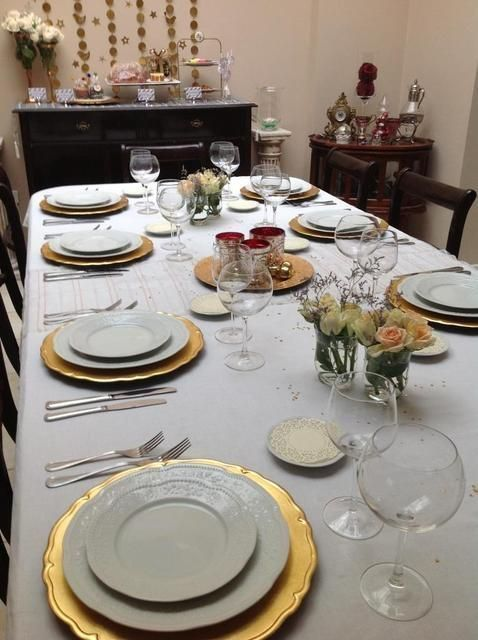 Lovely table settings at a New Year s Eve party! See more ...