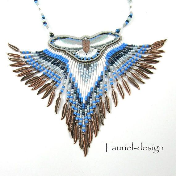Fringe Necklace Beaded Necklace Beaded Jewelry Falcon Necklace