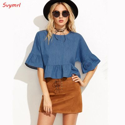 Svymrl 2017 Women Summer New fashion Blue Denim blouse O-Neck Loose Half Batwing sleeve leisure shirts tops