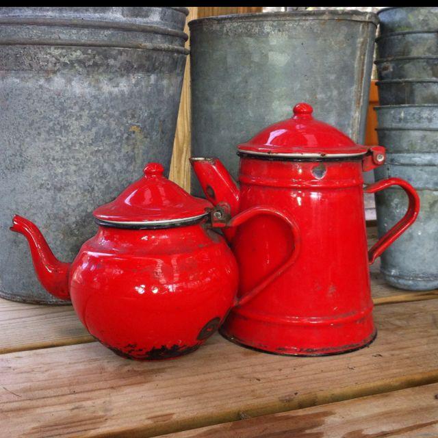 Enamel Ware Red Pots!