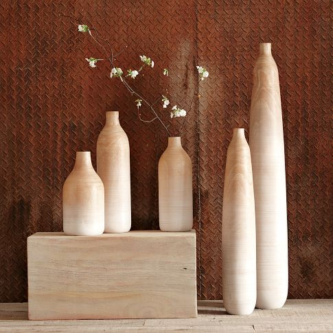 "Wooden Ombre Vases | west elm  Fade away. A gradual dark-to-light finish and ridged texture gives these Wooden Ombre Vases a rough-hewn artisanal feel. Their oversize profiles make a dramatic statement on the mantel, table or floor.  Tall Floor vase- 6""x40"",  Small Floor vase - 5""x27"""