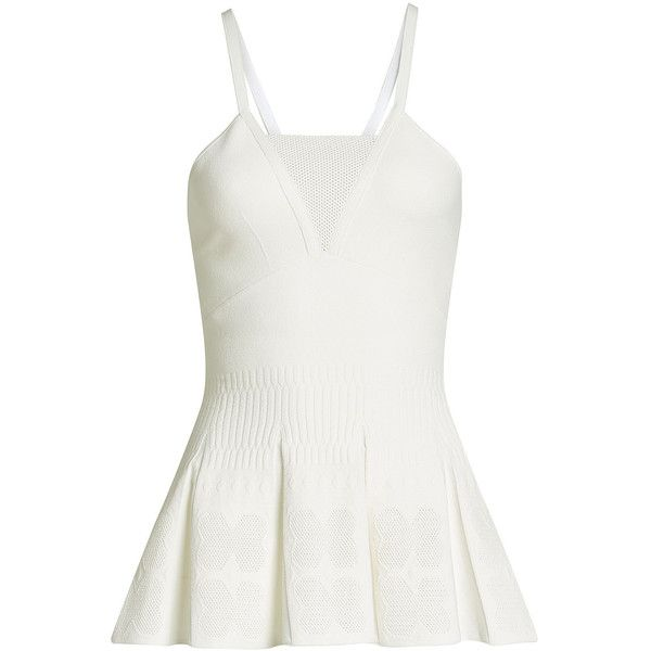 Roland Mouret Top (1.520 BRL) ❤ liked on Polyvore featuring tops, white, strappy top, roland mouret top, sleeveless tops, structured peplum top and white strappy top