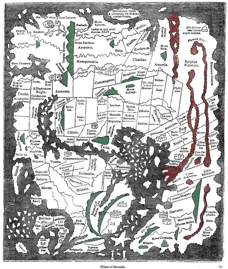 """Isidoro de Sevilha (c. 630) - Mapa diagramático - Mapa mundo anglo-saxónico. Ceilão (""""Taprobanea"""") surge no topo, Grã-Bretanha em baixo, à esquerda)- wikipedia.org"""