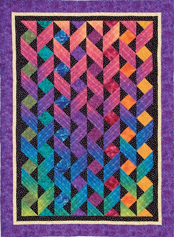 Ribbons from Fun With One Block Quilts by Cheryl Malkowski #quilt #colorful                                                                                                                                                      More