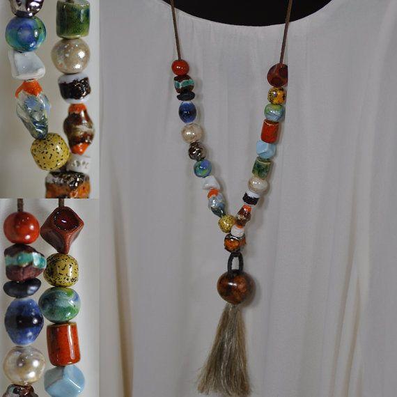 OOAK  ceramic necklace jewelry necklace artistic unique by zolanna