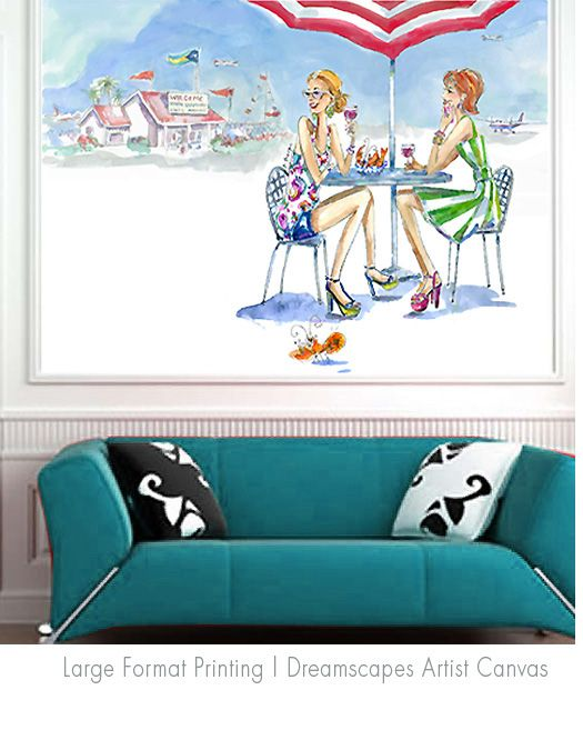 Pepper Tharp's painting, 'Bahama Girls, Is a perfect large format painting or Mural for Beach-style Living room, Transitional room, Loft Space or  Fashion Retail space. My Giclee Fine Art Prints are available to order as stretched canvas art in custom sizes. Contact : peppert@visi.com