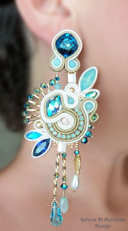 Soutache Earrings by Serena Di Mercione. --- Swarovski