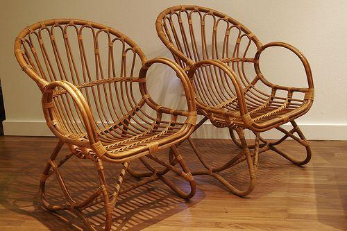 Viggo Boesen / Franco Albini inspired set of 4 bentwood rattan bamboo chairs -- SOLD