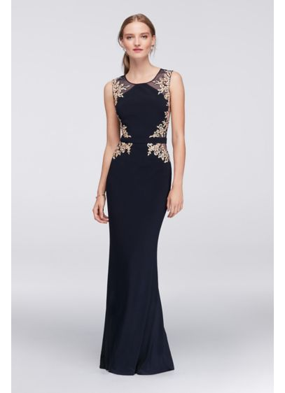 Embroidered Illusion Sheath Dress with Open Back 58383D