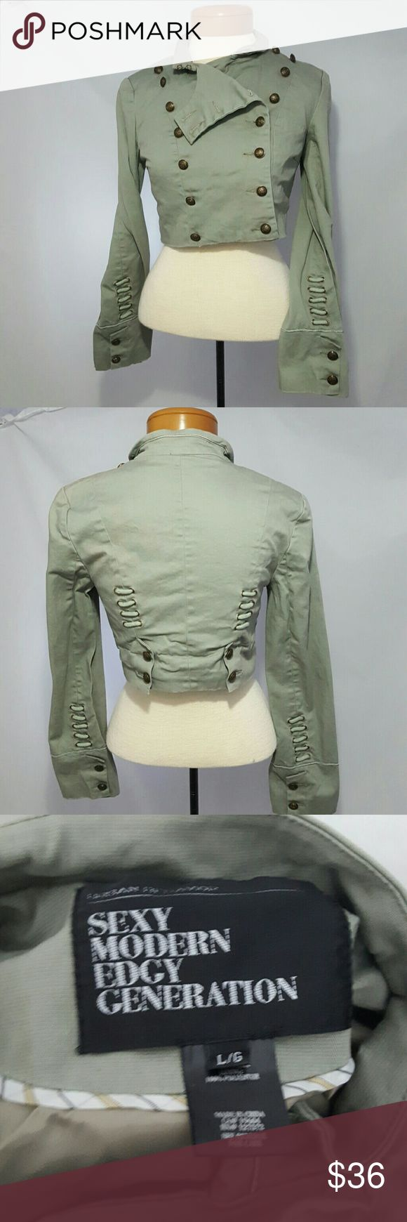 Urban Behavior Army Green Military Cropped Jacket Great condition. Faded look. Fits more like a small or medium depending on your bust size. Urban Behavior Jackets & Coats