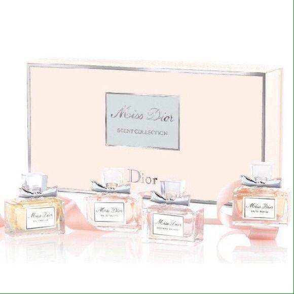 Miss Dior Perfume Set Never used. ⭐️Miss Dior Scent Collection Coffret: 1x Eau De Parfum 1x Eau De Toilette 1x Eau Fraiche Eau De Toilette 1x Blooming Bouquet Eau De Toilette.⭐️ $63 is my lowest price because I bought it for $80, this is practically new, and no longer sold in stores. No trades on this item Dior Other
