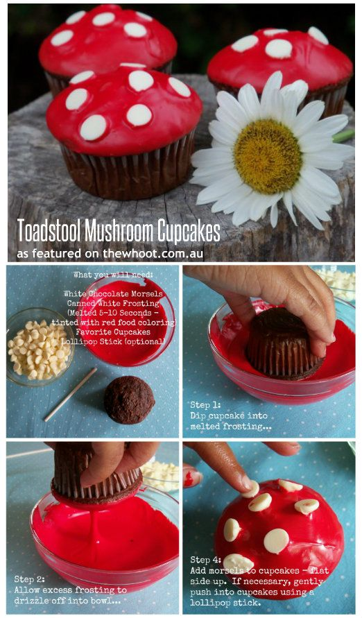 toadstool mushroom cupcakes-- also, could use red-tinted sugar instead of the frosting. Not sure which would be more frightening, though.