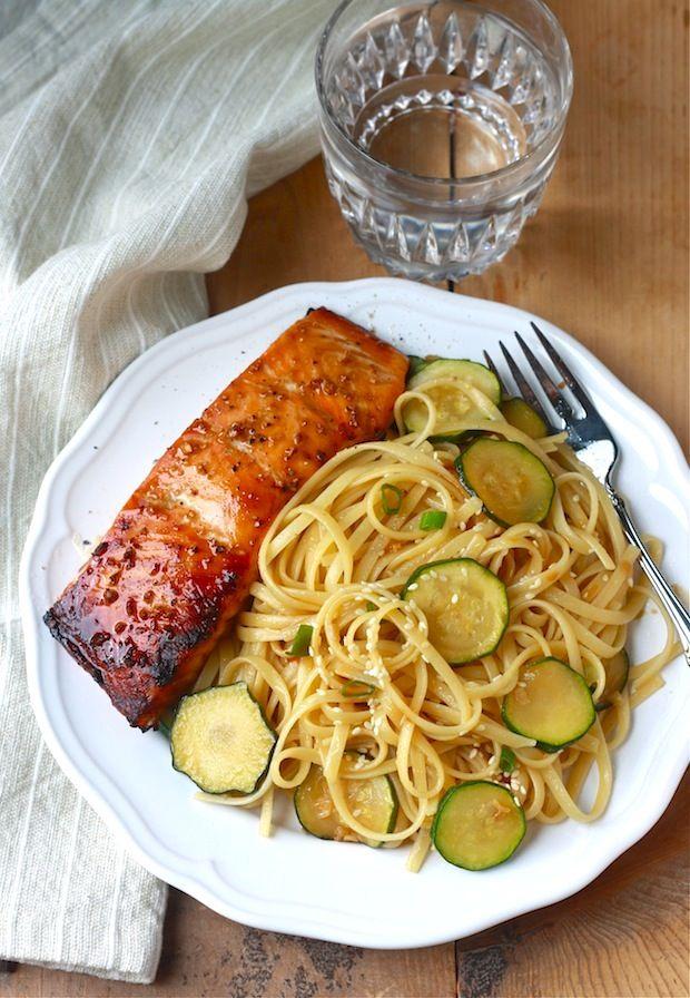 Zucchini Pasta with Teriyaki Salmon recipe by SeasonWithSpice.com