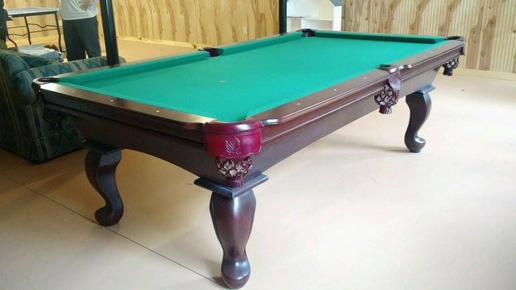 Connelly Prescott pool table shown in Cordovan on maple with queen anne legs, one of several leg options for this table. The Prescott and all other Connelly pool tables are available at Maine Home Recreation.
