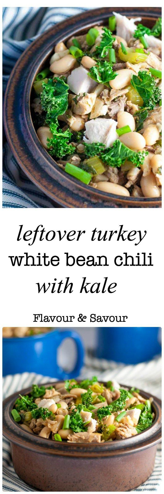 What to do with leftover turkey? Make this Easy Leftover Turkey White Bean Chili. Made with leftover turkey, white kidney beans (cannellini), and kale.