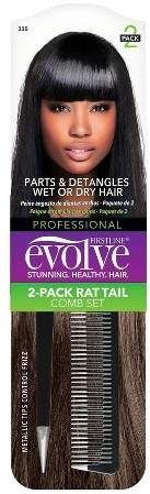 Evolve Products Evolve Rat Tail Comb Set - Black - 2pk