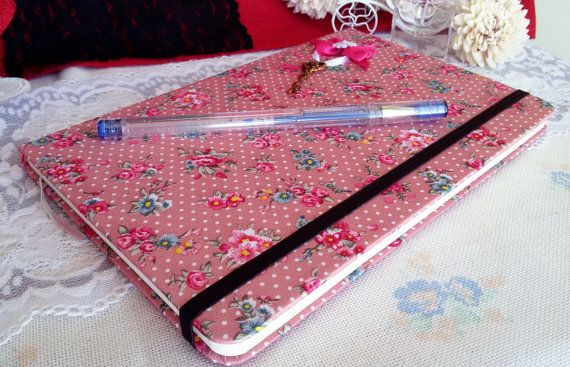 Shabby chic notebook pink notebook notebook with by Rocreanique on Etsy