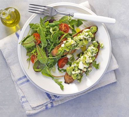Broad bean & feta cheese toasts. Slice up a baguette, toast, then use as a bruschetta base for beans and salty Greek cheese for a healthy bite