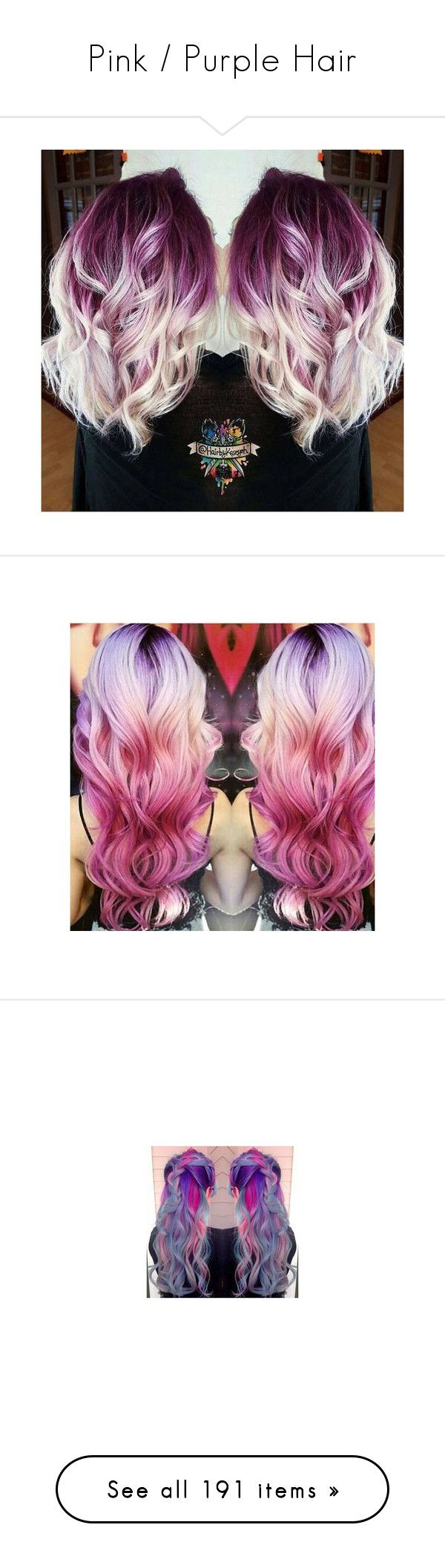 """""""Pink / Purple Hair"""" by mildabas ❤ liked on Polyvore featuring beauty products, haircare, hair, hair color, people, backgrounds, models, photos, filler and accessories"""