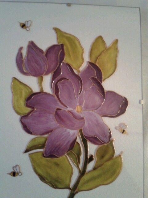 Kézzel festett magnóliás üvegkép